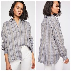 NWT Free People Wesley Plaid Buttondown